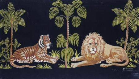 Scenic Lion and Tiger Wool Prickwork Embroidery on Velvet, l