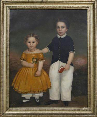 "American School Oil on Canvas ""Portrait of Brother and Siste"
