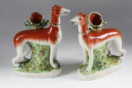 Pair of English Staffordshire Whippet Spill Vases