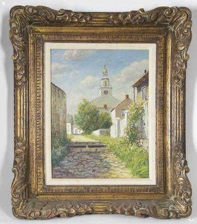 "William Paskell Oil on Canvas ""Stone Alley - Nantucket"""
