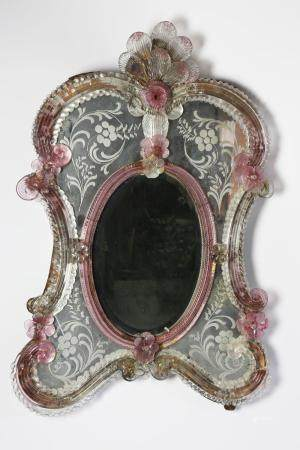 Venetian Colored Glass Framed Dressing Mirror, 19th Century