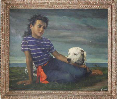 "Elmer Wesley Greene Jr. Oil on Canvas ""Portrait of a Young G"