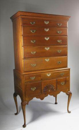 American Cherrywood Queen Anne Highboy, circa 1760