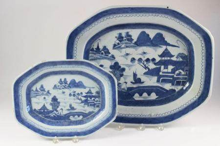 Two Blue and White Canton Platters, 19th Century