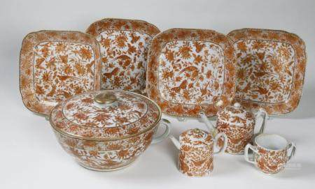 Chinese Export Orange Underglaze Floral and Aviary China, La