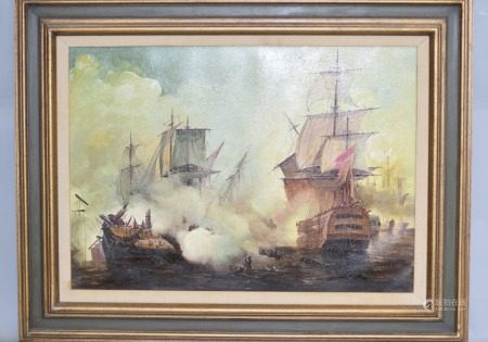 European Seascape Oil Painting on Canvas, Signed