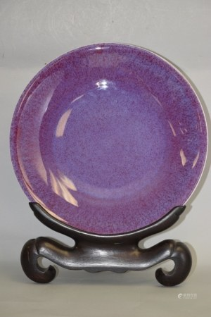 Large 19-20th C. Chinese Flambe Glaze Charger