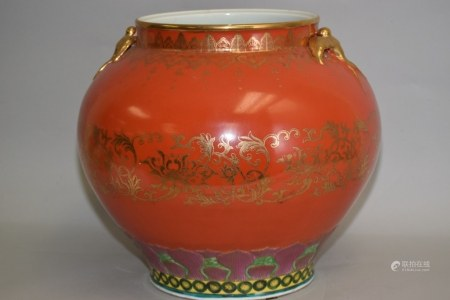 Chinese Coral Glaze Gold Famille Rose Jar, Qianlong Mark
