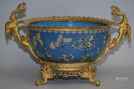 Large Qing Chinese Cloisonne Bowl Set in Ormolu
