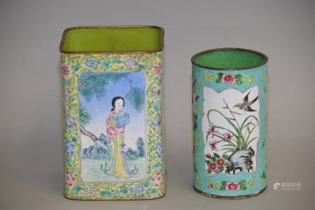Two Qing Chinese Enamel over Bronze Brush Pots