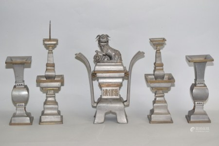 Set of 19-20th C. Chinese Pewter Religious Wares