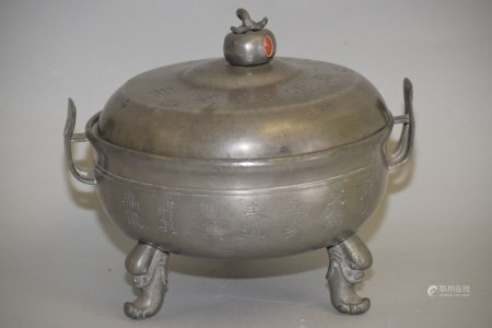 19-20th C. Chinese Guangdong Pewter Faux Bronze Wares