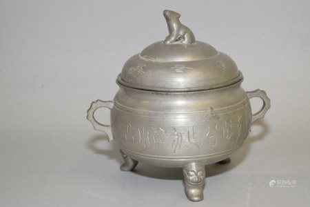 19-20th C. Chinese Guangdong Pewter Faux Bronze