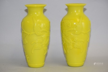Pr. of Chinese Yellow Peking Glass Carved Vases