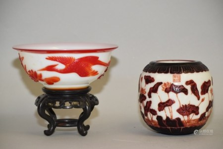 Two Chinese Two-Tone Peking Glass Carved Wares