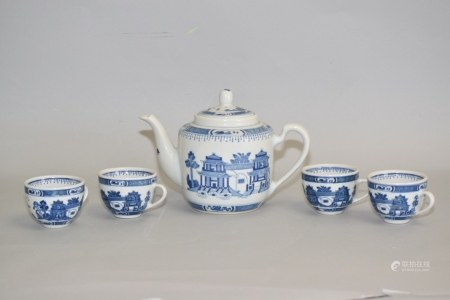 Group of 19-20th C. Chinese B&W Landscape Tea Ware