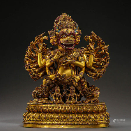 ANCIENT TIBETAN GILT BRONZE BUDDHA STATUE
