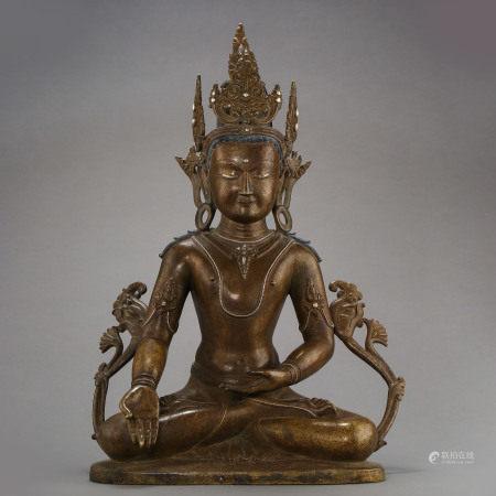ANCIENT TIBETAN COPPER ALLOY BUDDHA STATUE