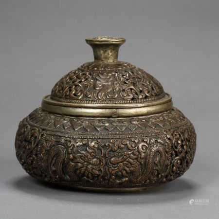 ANCIENT TIBETAN STERLING SILVER INCENSE BURNER