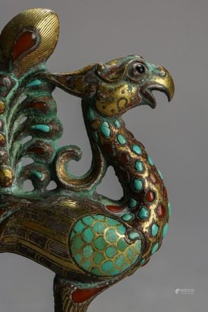 ANCIENT CHINESE BRONZE PHOENIX INLAID WITH GOLD, SILVER