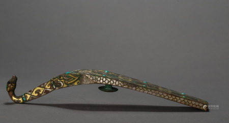ANCIENT CHINESE BELT HOOK INLAID WITH GOLD AND SILVER
