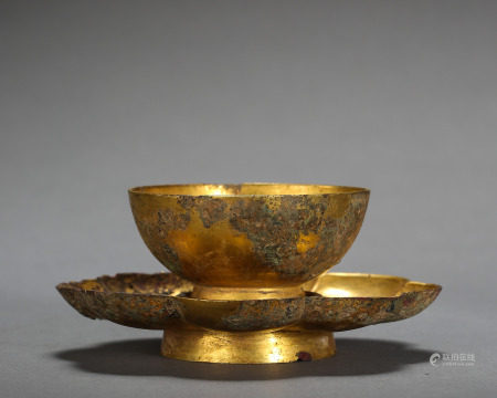 ANCIENT CHINESE GILT BRONZE CUP AND SAUCER