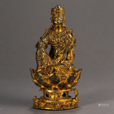 LIAO DYNASTY, CHINESE BRONZE GILT BUDDHA STATUE