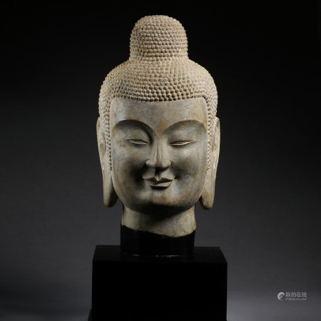 ANCIENT CHINESE STONE CARVED BUDDHA HEAD