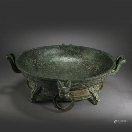 ANCIENT CHINESE TRIPOD BRONZE DING, WITH INSCRIPTION