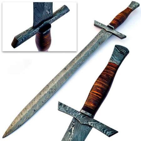 Stunning MEDIEVAL ARMING Damascus Sword