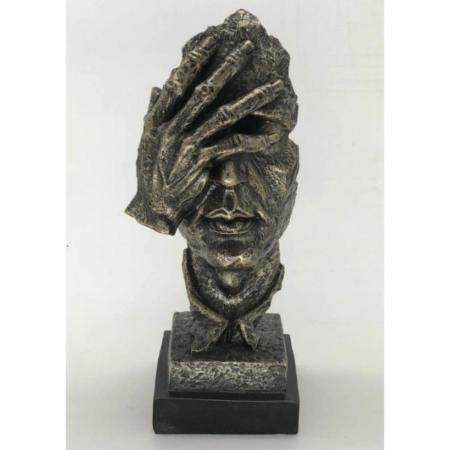 Surreal Floating Mask Face Palm Shame on Me Cold Cast Metall