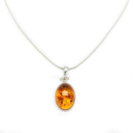 Mounted Baltic Amber 925 Silver Plated Pendant On 925 Silver