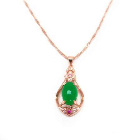 Beautiful Carved Jade Stone Surrounded in Semi-Precious