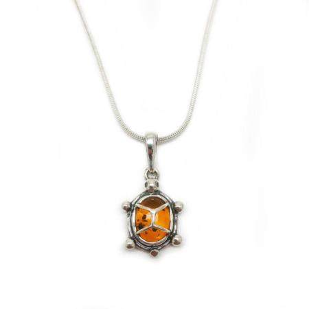 Baltic Amber 925 Silver Plated Tortoise Pendant Necklace On