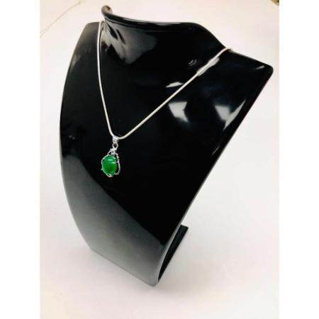 Unique 925 Silver Green Jade Pendant Paired With Sterling Si