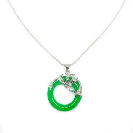 Green Jade Circle of Life Dragon Pendant With 925 Silver Sna