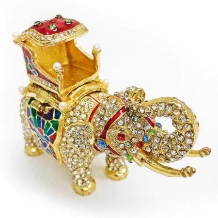 Faberge Elephant Trinket & Jewelry Box Made Crystal Bejewele