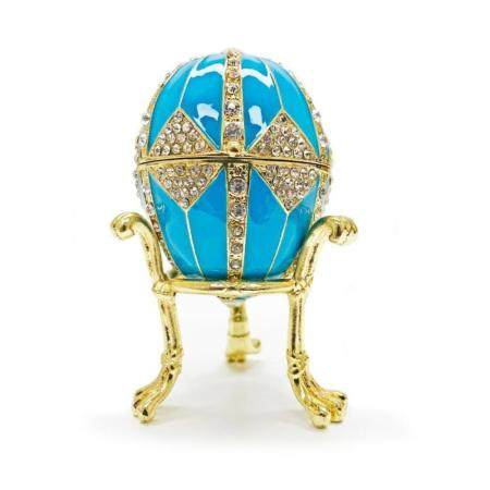 "3.15"" Crystal Rhombus on Blue Enamel Royal Inspired Russia"