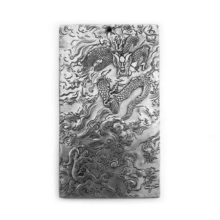 Chinese Tibetan Silver Dragon Bullion Zodiac Bar