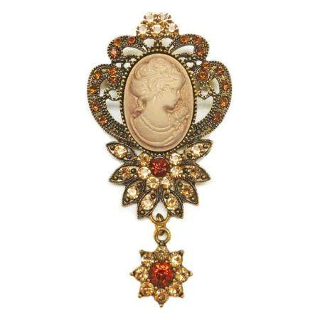 Ladies Bejewelled & Dangling Rhinestone Silhouetted Cameo Br
