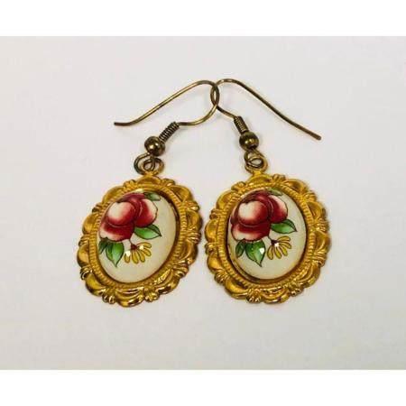 Ladies Vintage Hand Painted Floral Earrings Mounted In 18K G
