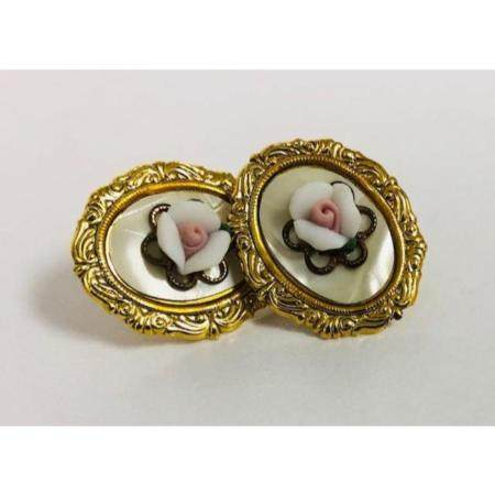 Ladies Vintage Hand Crafted Porcelain Earrings Mounted On Mo