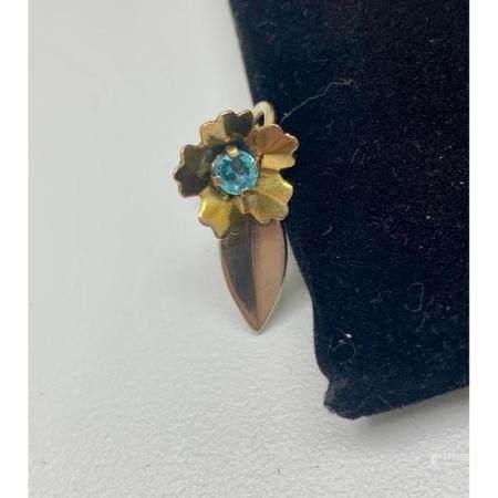 Ladies .2ct Round Cut Sky Blue Citrine Flower Earrings