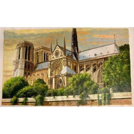 Magnificent Original Painting of The Historic Notre Dame Cat
