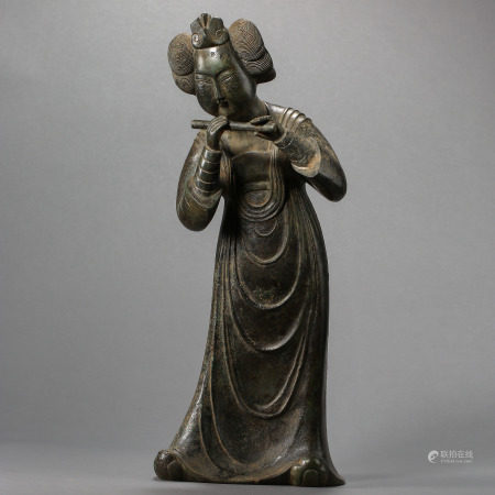 TANG DYNASTY, CHINESE BRONZE LADY PLAYING A FLUTE