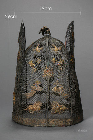 LIAO DYNASTY, A SET OF CHINESE SILVER MADE WOMAN CLOTH, INCLUDING A HAT, A PAIR OF  BOOTS, PARTLY SILVER GILT