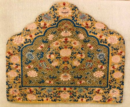 QING DYNASTY, KESI BACK CUSHION WITH CHRYSANTHEMUMS PATTERN