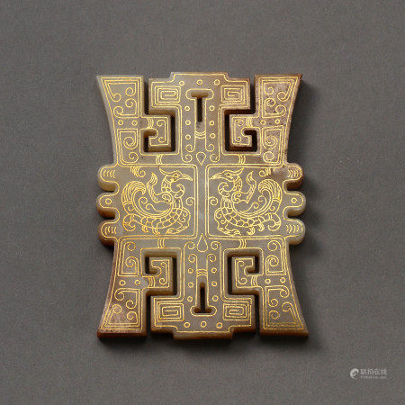 WARRING STATES PERIOD,ZHANGUO THE HETIAN JADE PLAQUE INLAID WITH GOLD, YUBI