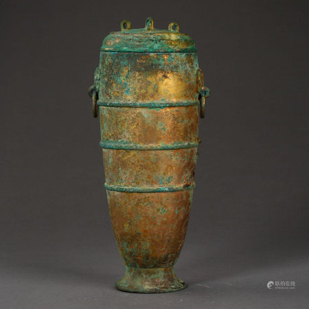 HAN DYNASTY, CHINESE BRONZE GILT CUP WITH A LID