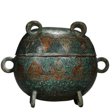 WARRING STATES PERIOD, BRONZE CENSER WITH A LID, INLAID WITH GOLD AND SILVER, AND TURQUOISE